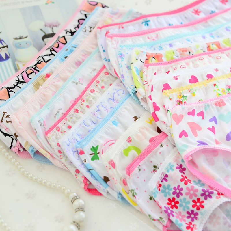 6pcs//Pack Toddler Kids Baby Girls Briefs Soft Cotton Panties Knickers 0-12 Years